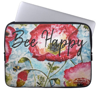 Be Happy Floral Watercolor Art Laptop Sleeve
