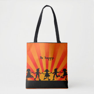 Be Happy Fun Print Tote Bag