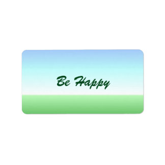 Be Happy Green Blue Label Address Label