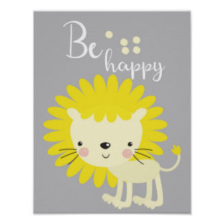 Be happy lion nursery room decor poster