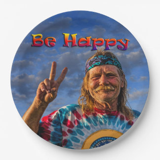 BE HAPPY PAPER PLATE