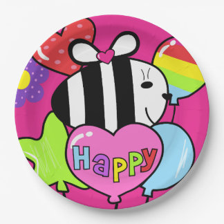"""""""BE HAPPY"""" party plates. 9 Inch Paper Plate"""