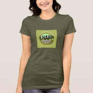 BE HAPPY  Shirt-Peach/Camel/Green/Gray/Brown/White T-Shirt
