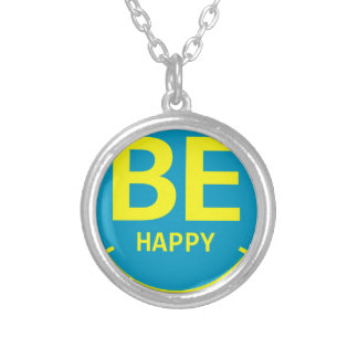 Be happy smile silver plated necklace