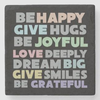 Be Happy Typography Stone Coaster