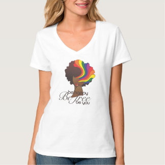 Be Happy V-Neck Tee