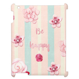 Be happy - Watercolor floral roses flowers iPad Cover