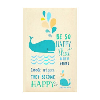 Be Happy Whale Canvas Canvas Print