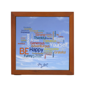 Be Happy Word Cloud in Blue Sky Inspire Desk Organiser