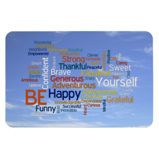 Be Happy Word Cloud in Blue Sky Inspire Magnet