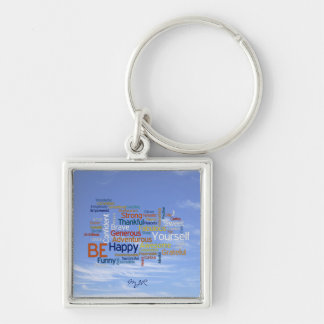 Be Happy Word Cloud in Blue Sky Inspire Silver-Colored Square Key Ring