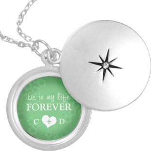 Be in my life FOREVER - Jade Green Silver Locket