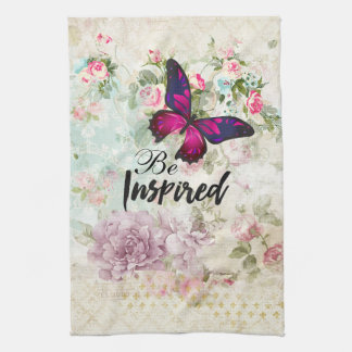 Be Inspired Quote & Pink Butterfly Shabby Collage Tea Towel