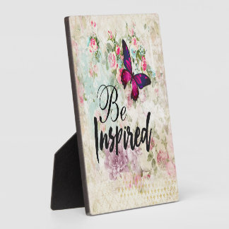 Be Inspired Quote & Pink Butterfly Vintage Collage Plaque