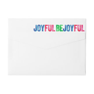 Be Joyful Colorful Holiday Letterpress Custom Wraparound Return Address Label