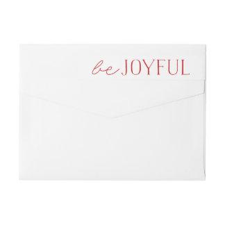 Be Joyful | Red and White Holiday Wraparound Return Address Label