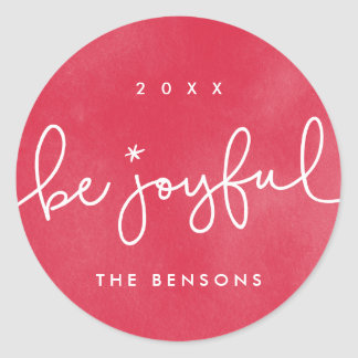 Be Joyful Red Watercolor Round Sticker