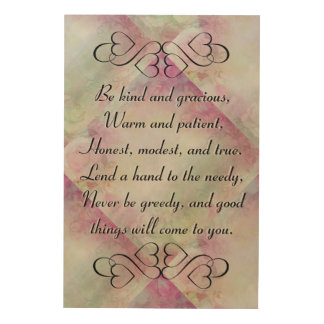 Be Kind and Gracious Inspirational Floral Wall Art