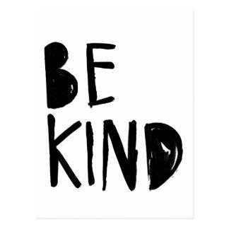 Be Kind | Black Brush Script Style Postcard
