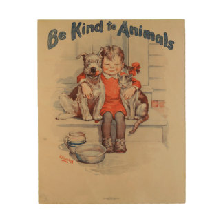 Be Kind To Animals Little Girl Vintage Poster