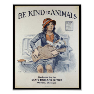 Be Kind to Animals - Vintage Poster