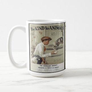 Be Kind to Animals - Vintage Poster Coffee Mug