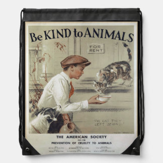 Be Kind to Animals - Vintage Poster Drawstring Bag