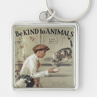 Be Kind to Animals - Vintage Poster Key Ring