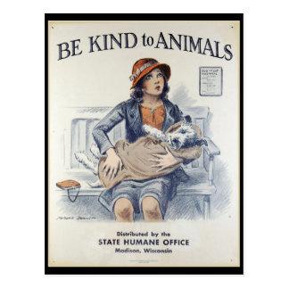 Be Kind to Animals - Vintage Poster Postcard