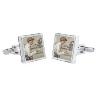 Be Kind to Animals - Vintage Poster Silver Finish Cufflinks