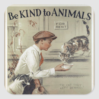Be Kind to Animals - Vintage Poster Square Sticker