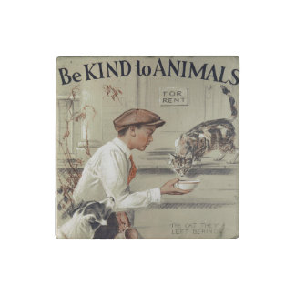 Be Kind to Animals - Vintage Poster Stone Magnet