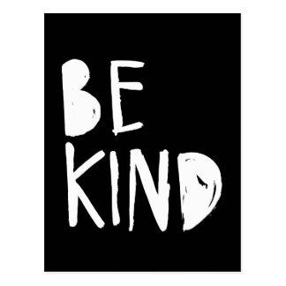 Be Kind | White Brush Script Style Postcard