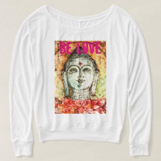 Be Love Buddha Art Flowy Off Shoulder Shirt