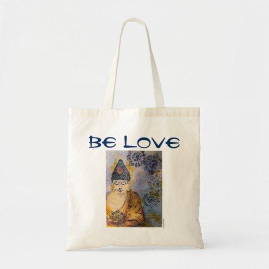 Be Love Zen Buddha Watercolor Art Canvas Tote