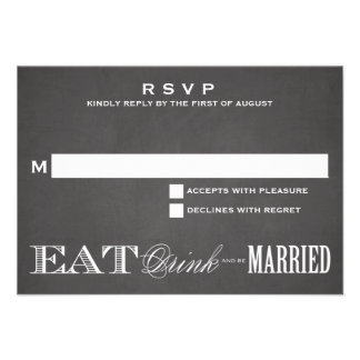 BE MARRIED CHALKBOARD RSVP 3 5 x 5 Announcement