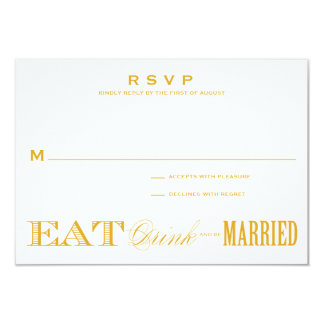 & BE MARRIED | RSVP 3.5 x 5 9 Cm X 13 Cm Invitation Card