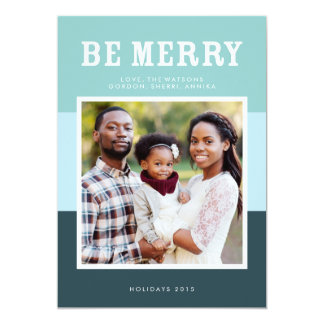 Be Merry | Blue Modern Color Block Photo Holiday 13 Cm X 18 Cm Invitation Card
