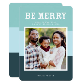Be Merry | Blue Modern Color Block Photo Holiday Card