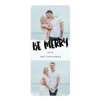 Be Merry Brush Script Holiday Photo Card 10 Cm X 24 Cm Invitation Card