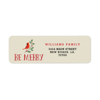 Be Merry Cardinal Christmas Return Address Label