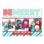 Be Merry Family Photo Collage Holiday Card Custom Invitation