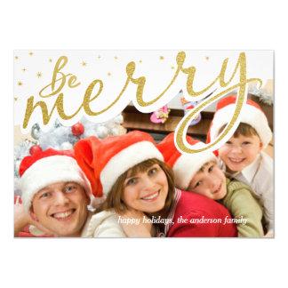 Be Merry Gold Foil Retro Script Christmas Photo 11 Cm X 16 Cm Invitation Card