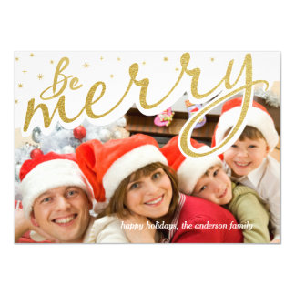 Be Merry Gold Foil Retro Script Christmas Photo Card