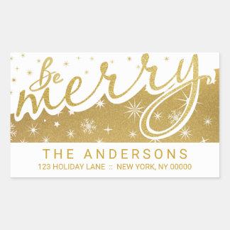 Be Merry Gold Handwritten Christmas Address Rectangular Sticker