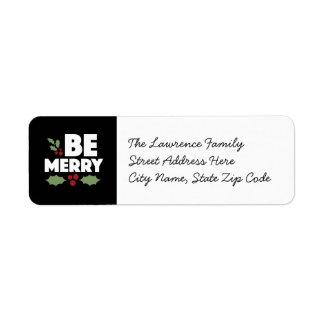 Be merry return address labels, Christmas card Return Address Label