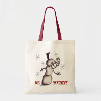 """Be Merry"" snowman tote Budget Tote Bag"