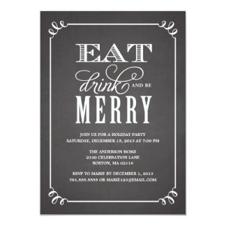 BE MERRY VINTAGE   HOLIDAY PARTY INVITATION