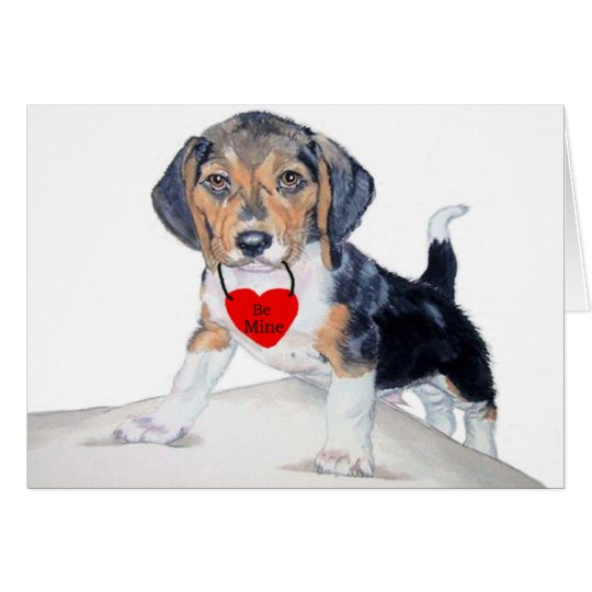 Be MIne Beagle Valentine Greeting Card