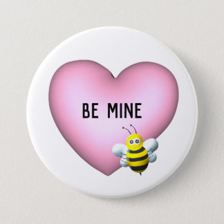 Be Mine Bumblebee with Pink Puffy Heart 7.5 Cm Round Badge